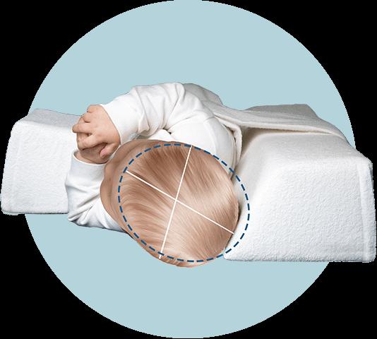 Produktbild Kopfansicht des Baby Lagerungskissen zur Wachstumslenkung bei Kopfverformung