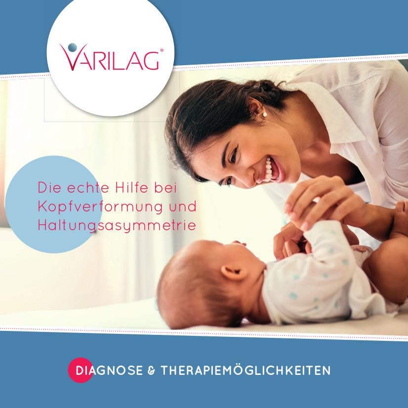 Prospekt von VARILAG zu Diagnose und Therapiemöglichkeiten bei Haltungsasymmetrie und Kopfverformung im Säuglingsalter